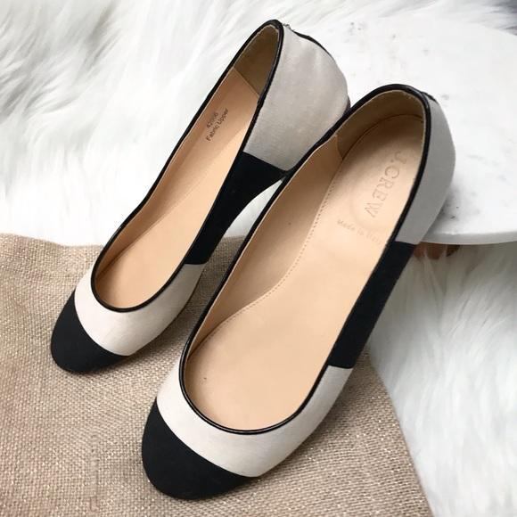 4ed1574d586 J. Crew Shoes - J. Crew Nora Black   White Canvas Striped Flats